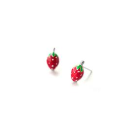 Aardbeien oorbellen op wenskaart