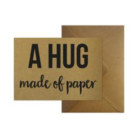 Wenskaart - A hug made of paper