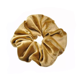 Gold Camel - Velvet scrunchie