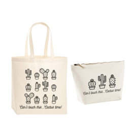 Gift pack - Premium tas & toilettas - Can't touch this... Cactus time!