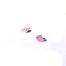 Vogeltjes oorbellen op wenskaart