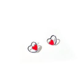 Dubbele hartjes oorbellen op wenskaart