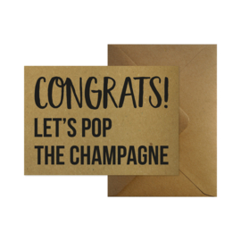 Wenskaart - Congrats! Let's pop the champagne