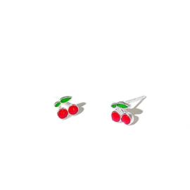 Kersen oorbellen op wenskaart