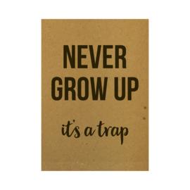 Ansichtkaart - Never grow up it's a trap