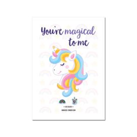 Unicorn & regenboog oorbellen op wenskaart