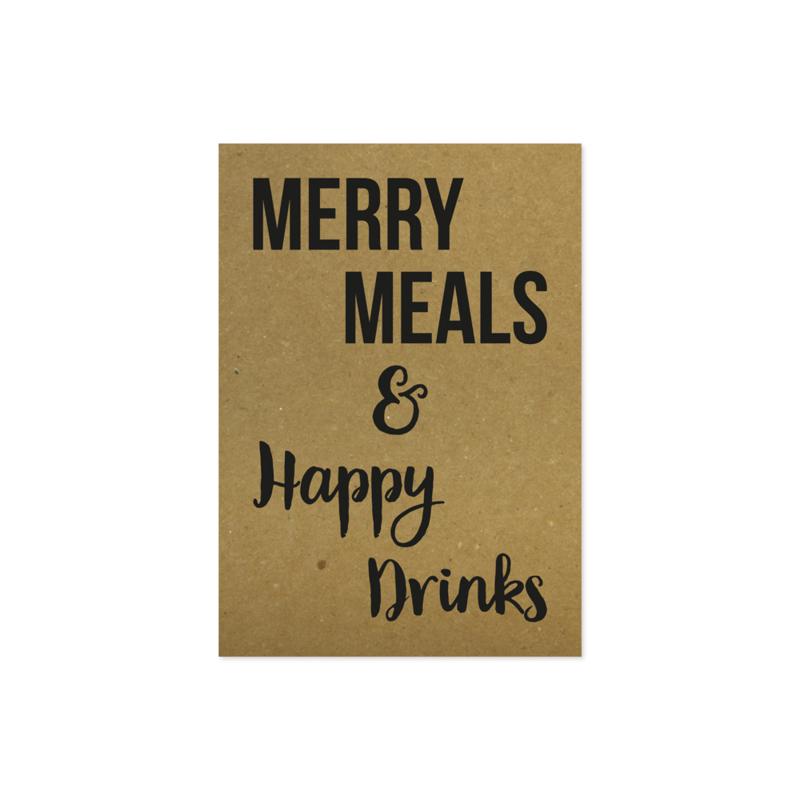 Kerstkaart - Merry meals & happy drinks
