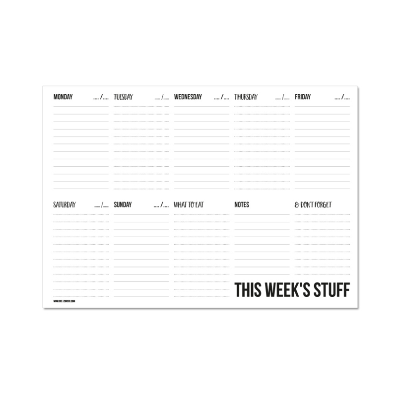 Weekplanner A4 - This week's stuff