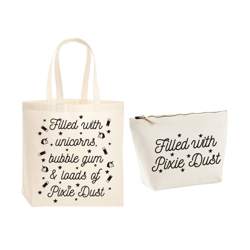 Gift pack - Premium tas & toilettas - Filled with unicorns, bubble gum & loads of Pixie Dust