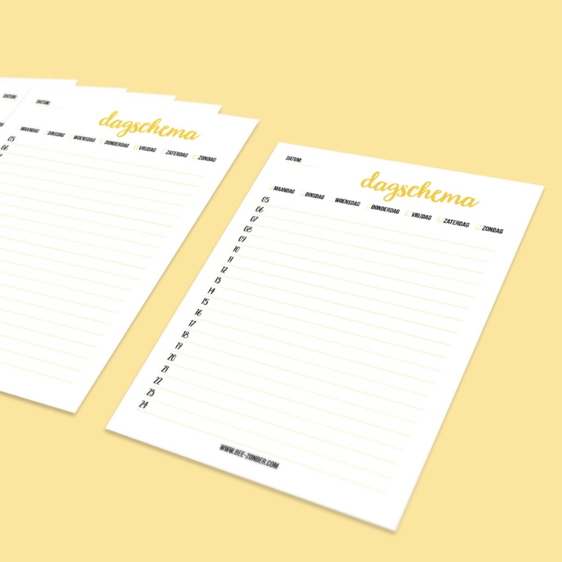 Voor jou: Printable Dagschema