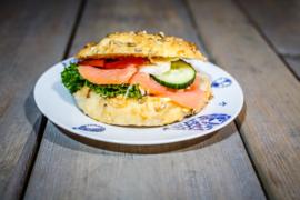 Broodje kaas-pompoenpitten, Zalm-bieslook