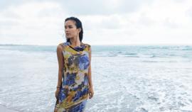 Ärmelloses Kleid mit drapiertem Kragen Größe 34 - 44
