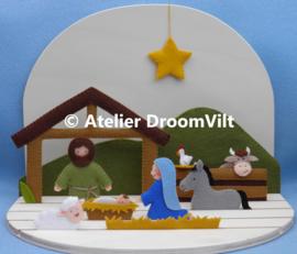 Patroonblad 'Kersttafereel: in de stal' (excl. houten seizoenstafel)