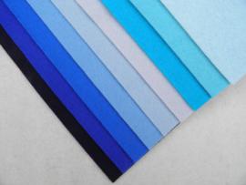 Kleurenset blauw wolvilt