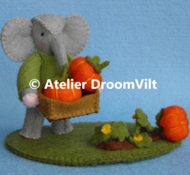 Patroonblad 'Pompoenen oogsten'
