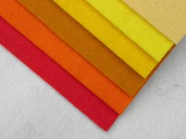 Kleurenset rood/geel wolvilt
