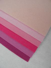Kleurenset roze wolvilt