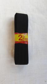 Elastiek zwart 2,5 mtr lang 2,5 cm breed