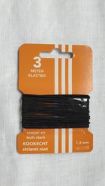 Pakje baby elastiek rond zwart  3 meter € 1,00