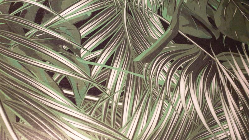 Vilt met bedruk blader motief   € 10,- p/m  50 cm voor