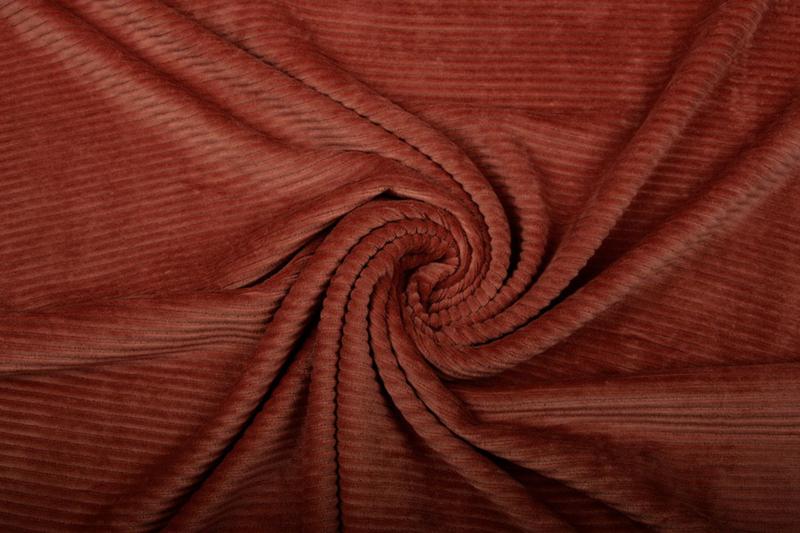 Jersey  corduroy   roest Brique   Art CD187 -40 cm voor
