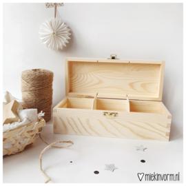 Houten box voor mini-kaarten || 3 vakken