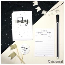 Babyshower neutraal || Invulkaarten || set van 10 kaarten || per 5 stuks