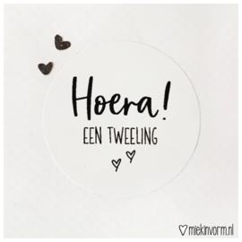 sticker Hoera! een  tweeling || per 5 stuks