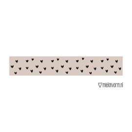 Masking tape || beige met zwarte hartjes || per 5 stuks