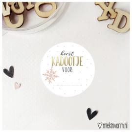 Sticker || Kerst kadootje voor: || goudfolie || per doosje 250 stuks