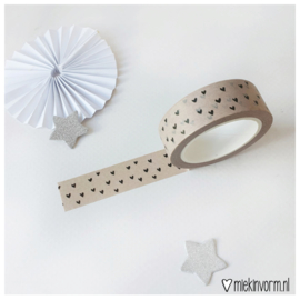 Masking tape    beige met zwarte hartjes    per 5 stuks