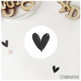 Sticker || Hart || zwart/wit || per doosje 250 st
