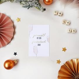 Mini-kaart || proost op een fantastisch jaar || per 5 stuks