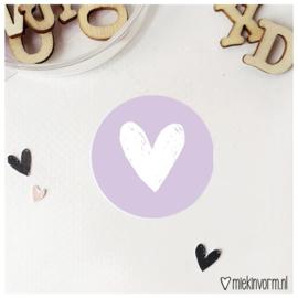 Sticker || Hart || lila || per doosje 250 stuks