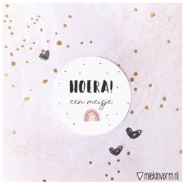 Sticker || Hoera! een meisje (regenboog) || per doosje 250 st