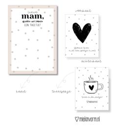 Ansichtkaart + theezakje    Lieve mam, drinken we samen een theetje?    per 5 stuks