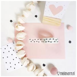 Masking tape || wit met zwarte hartjes || per 5 stuks