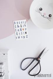 ABC  I ♡ U  || Mini-kaart || per 5 stuks