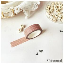 Masking tape || Raster donkerroze || per 5 stuks