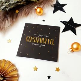 Dubbele ansichtkaart met goudfolie || Een papieren kerstknuffel voor jou || per 5 stuks