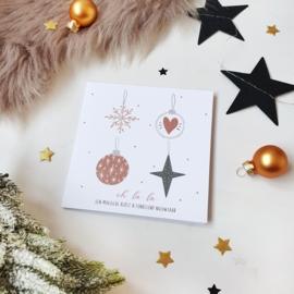 Dubbele ansichtkaart met glitterlak || Oh la la een magische kerst & fonkelend nieuwjaar || per 5 stuks