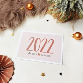 Ansichtkaart met glitterlak  || 2022 doe waar je hart blij van wordt || per 5 stuks