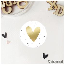 Sticker || Hart || stipjes met goudfolie || per doosje 250 stuks