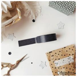 Masking tape || zwart met kleine witte stipjes || per 5 stuks