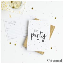 Feest uitnodigingen || Let's Party || set van 10 kaarten || per 5 stuks