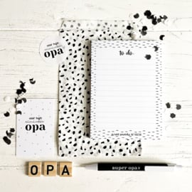 Kadootje voor opa || Notitieblok A6 + pen + minikaart + sticker + kadozakje|| per 5 st