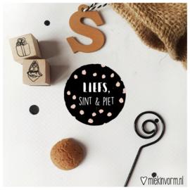 Sticker || Liefs, Sint & Piet (stipjes) || per doosje 250 stuks