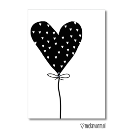 Hart ballon || Ansichtkaart || per 5 stuks