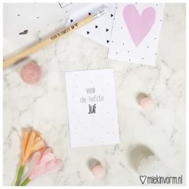 Voor de liefste juf || Mini-kaart || per 5 stuks