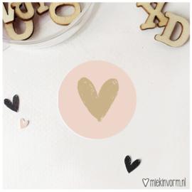 Sticker || Hart || roze met goudfolie || per doosje 250 st